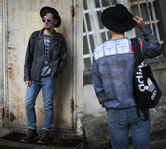 Daro K. - Giant Vintage Sunglasses, Blouse, Adidas Backpack, H&M Hat - Love yourself
