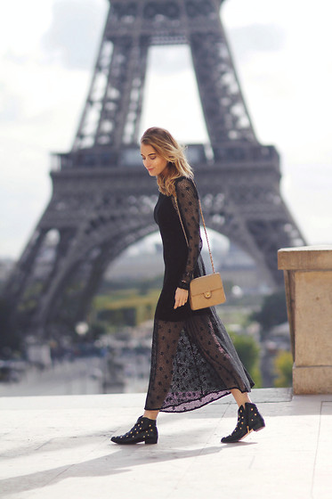Noor G. - Zara Sheer Dress, Chanel Bag, Fab. By Fabienne Boots - ONCE IN PARIS