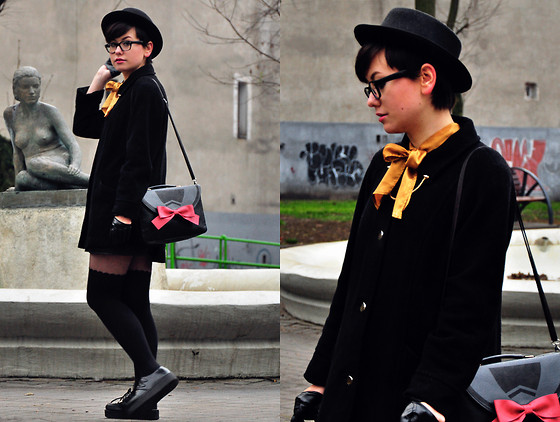 Karolina R. - Thrifted Shirt & Coat - Black and Gold