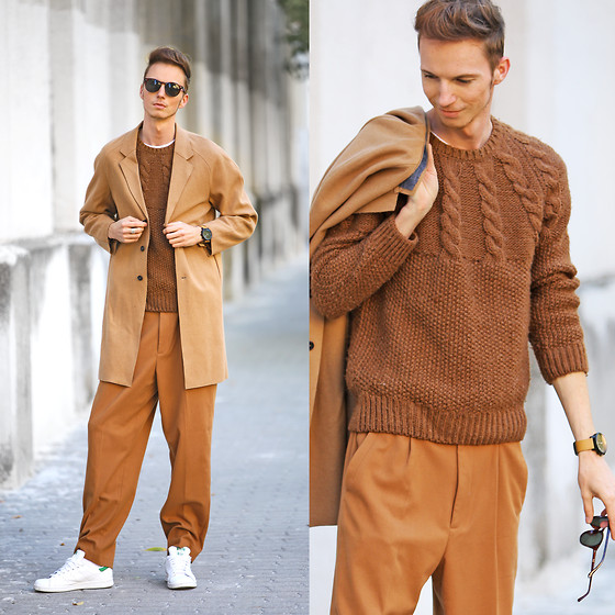Chaby H. - Vintage Knitted Sweater, H&M Camel Overcoat, H&M Baggy Pants, Adidas Stan Smith - Baggy. Pants. Are. Back :)