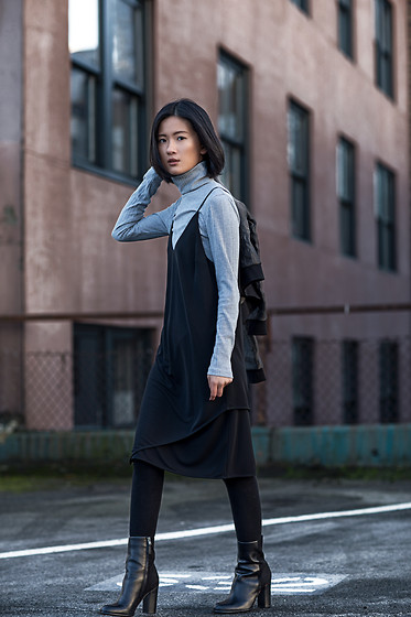Claire Liu - Aces Of Armor Dress, Aces Of Armor Sweater, Sam Edelman Boots - Aces of Armor I