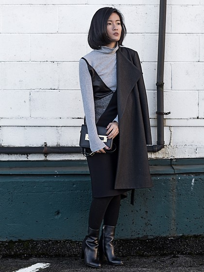 Claire Liu - Aces Of Armor Wool Coat, Aces Of Armor Dress, Sam Edelman Boots - Aces of Armor II