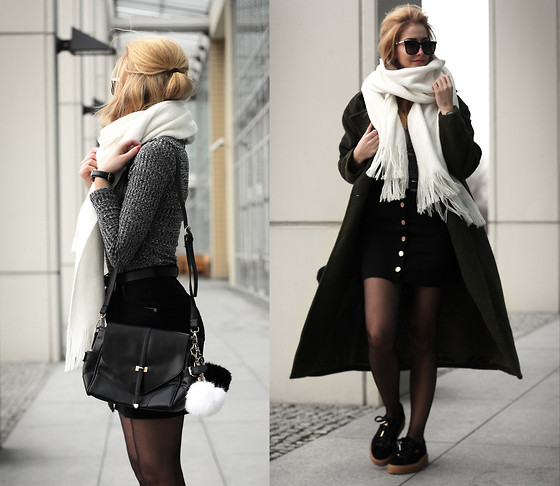 Endzel - Coat, Skirt, Blouse, Bag, H&M Scarf, Freyrs Sunglasses - Green