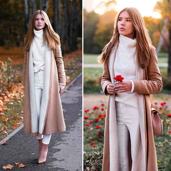 Tatiana Vasilieva - Asos Camel Coat, Asos High Neck Jumper, Asos White Ripped Jeans - Getting Colder