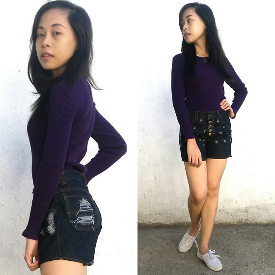 Honey Frauline - Avant Premiere Purple Sweater, Sumaung Jeans Thailand Blue Distressed Denim - Sweater Time