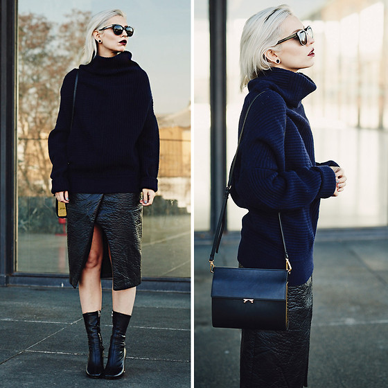 Masha Sedgwick - Acne Studios Navy Jumper, Marni Bag, Finders Keepers The Label Skirt, Acne Studios Shoes - What would Victoria do?
