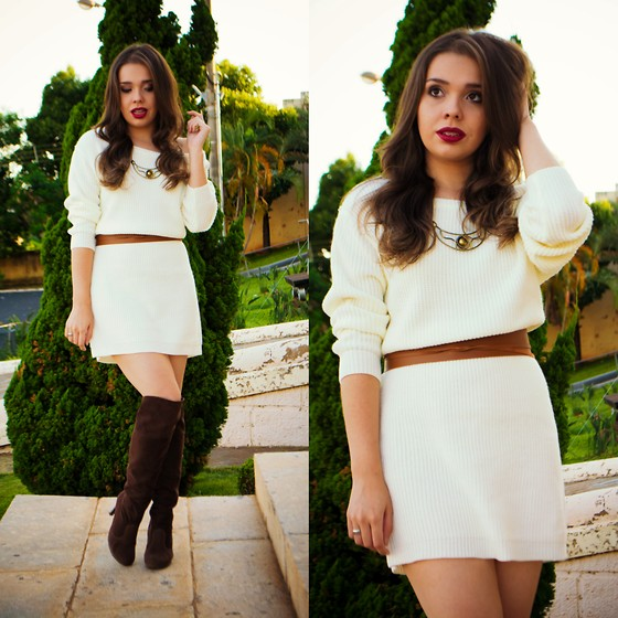 Priscila Figueredo - Sheinside White Long Sleeve Designer Bodycon Dress, Belt, Over The Knee Boots - Winter in my heart ;