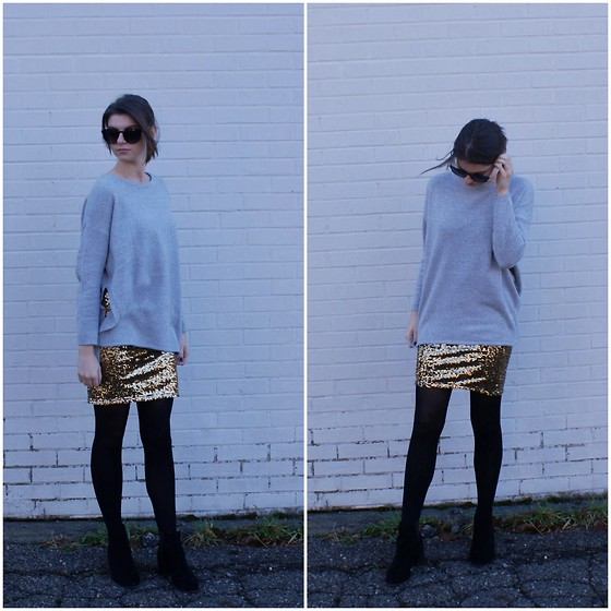 Tracie Marie - H&M Sweater, H&M Gold Sequin Skirt - Gravity