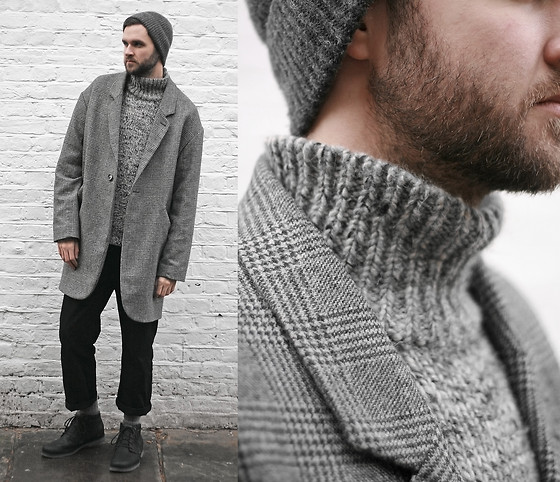 Geraint Donovan-Bowen - H&M Hat, Topman Coat, Whistles Roll Neck Jumper, Topman Jeans, Teva Boots - His Name Is Cheer #StayWarmLB