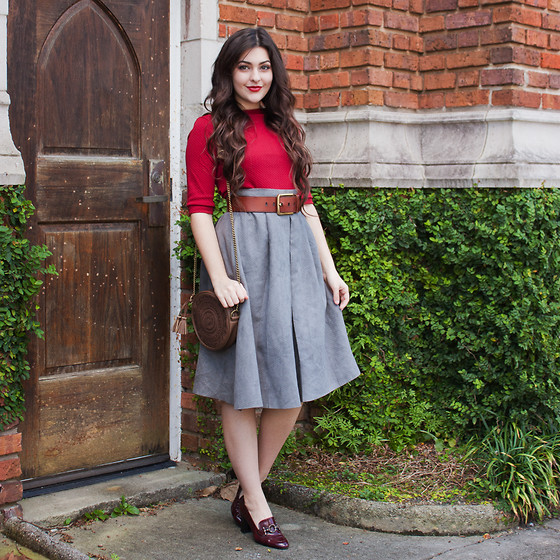 Carly Maddox - Chicwish Gray Suedette Skirt - Suedette Midis and Vintage Heels