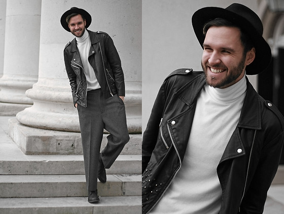 Geraint Donovan-Bowen - Topman Fedora, Topshop Leather Biker Jacket, Topman Roll Neck, Topman Lux Trousers, River Island Shoes - His Name Is Flux