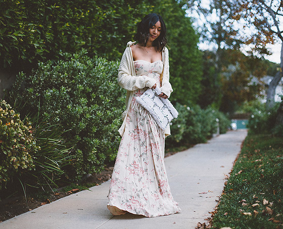 Stephanie Liu - For Love & Lemons Cardigan, Reformation Dress, Soukie Modern Bag - Winter Florals