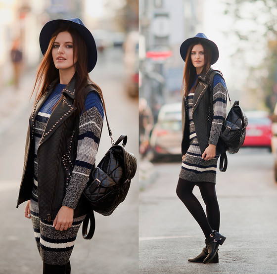 Viktoriya Sener - Romwe Hat, Romwe Dress, Les Eclaires Leather Vest, Chic Wish Backpack, Yoins Booties - COZY STRIPES