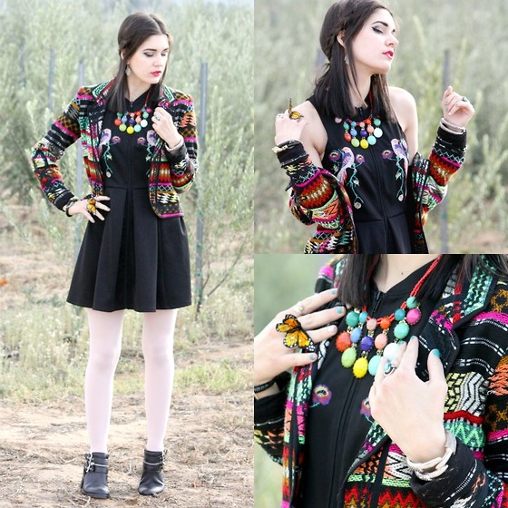Lexi L - Love Sam Embroidered Blazer, Buffalo David Bitton Embroidered Bird Dress, Resale Rainbow Stone Necklace, Party City Butterfly Ring, Wholesale Buying Bird Claw Bracelet - Butterfly