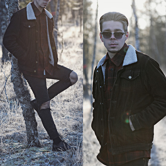 Edgar - Primark Black Ripped Denim Jeans, H&M Black Leather Oxford Shoes, Primark Brown Corduroy Bomber Jacket, H&M Red And Black Flannel Shirt, Primark Black Sunglasses - OUT IN THE COUNTRY // See More In Description