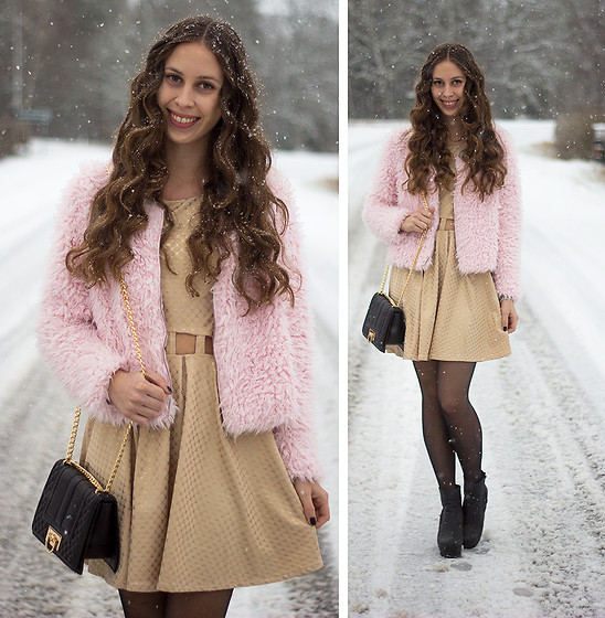 Carina KL - Gina Tricot Pink Jacket, Gina Tricot Bag, Diy Gold Dress - Pink & Gold
