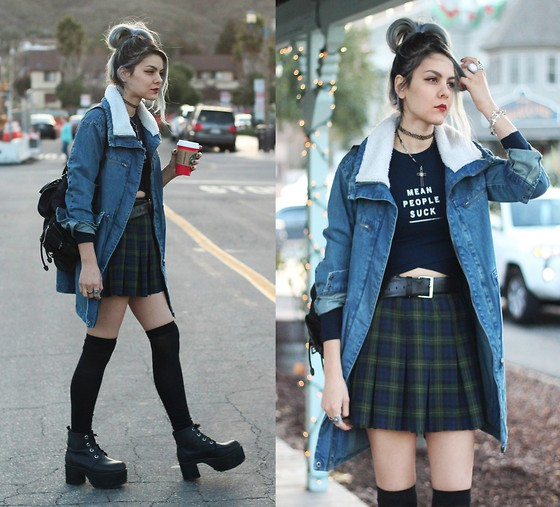 Mickylene Delgado - Forever 21 Mean Graphic Crop Top, Forever 21 Faux Shearing Denim Jacket, T.U.K. Footwear Nosebleed Boots - MEAN PEOPLE SUCK
