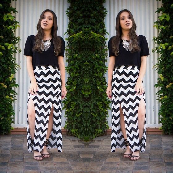 Priscila Figueredo - Romwe Zigzag With Split Black Skirt, Cropped Black - ZigZag;
