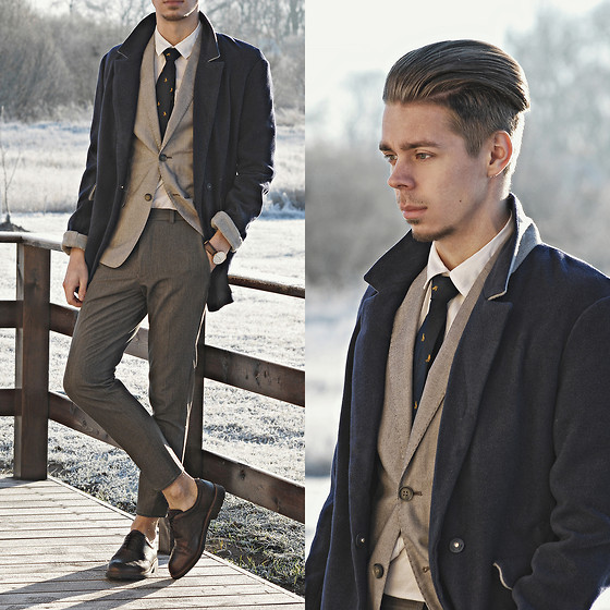 Edgar - Primark Grey Cropped Suit Trousers, Brown Leather Oxford Shoes, H&M Grey Suit Blazer, Navy Necktie, H&M White Shirt, Navy Cotton Overcoat, Daniel Wellington Leather Watch - SEEMS LIKE YESTERDAY // See More In Description