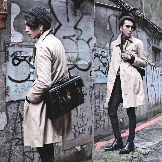IVAN Chang - Asos Hat, Burberry Vintage Trench Coat, Asos Superskinnyjeans, Asos Boots, Mcving Bag - 130116 TODAY STYLE