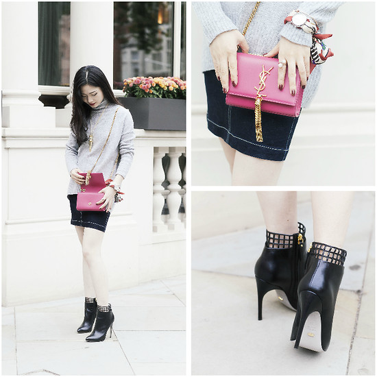 Katie - Saint Laurent Monogram Shoulder Bag, Sergio Rossi Ankle Boots - Ins: Katie_AvecChic