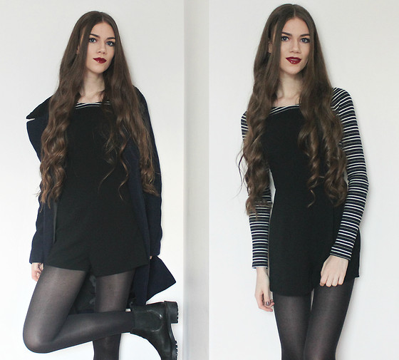 Lois H - Missguided Black Dungaree Playsuit, Zara Black Striped Top, Zara Navy Coat, Asos Black Ankle Boots - Stripes