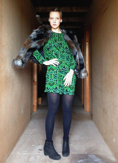 Sabine K - H&M Fake Fur Jacket, H&M Cocktail Dress - Winter Gypsy