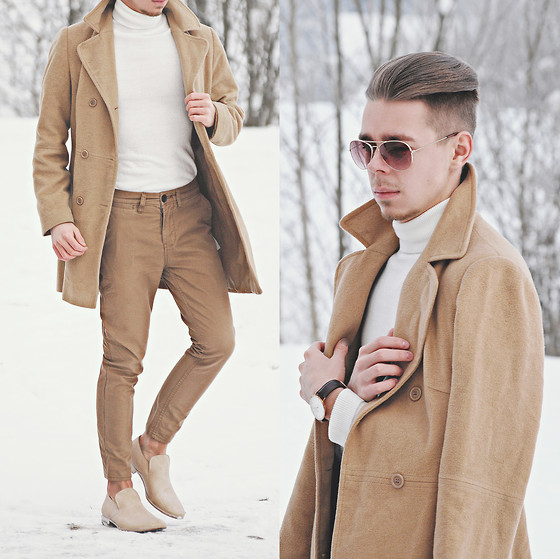 Edgar - Camel Overcoat, Daniel Wellington Leather Watch, Primark Sunglasses, White Roll Neck Sweater, H&M Camel Pants, Maison Martin Margiela Mold Effect Loafers - PALE CAMEL TONES // See More In Description