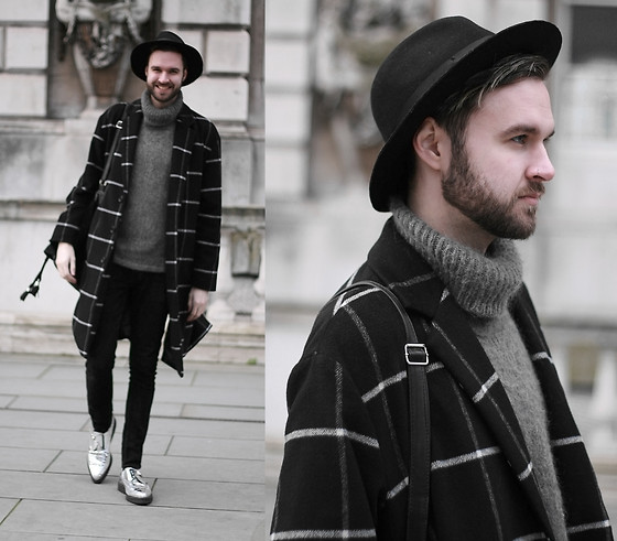 Geraint Donovan-Bowen - Topman Fedora, Topman Roll Neck, River Island Coat, Rokit Vintage Backpack, Nudie Jeans, Underground Creepers - His Name Is LCM
