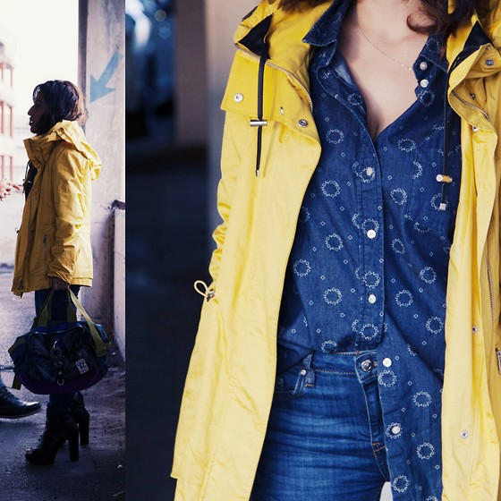 Ofir - Uniqlo Denim Shirt, Zarz Rain Coat - Yellow fever