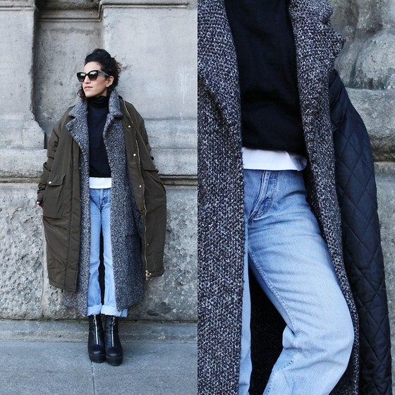 Ofir - Pull And Bear Coat, Zara Cardigan, Levi's Jeans - The layer one