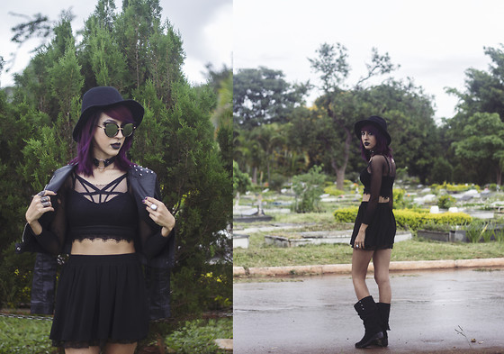 ☽ Lara Kneip ☾ - Piccadilly Boots, Forever 21 Black Skirt, Renner Top Cropped, Renner Strappy Bra, Blue Steel Spikes Jacket, Forever 21 Black Hat, Aliexpress Cat Sunglass - Some Wicca Girl