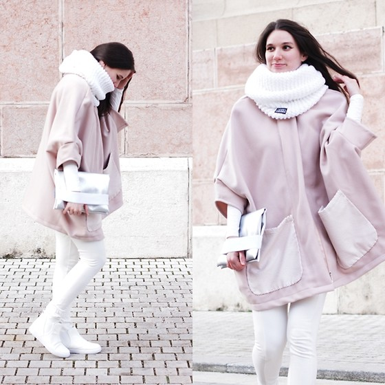 Mimi Papp - Andrea Szanyi White Granny Scarf, Between Brand Coat, Hannabi Silver Clutch, Amnesia White Legging - Winter White