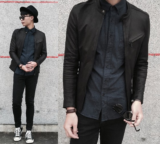 Anan Chien - Asos Hat, Josabank Leather Jacket, Uniqlo Shirt, Cheap Monday Skinny Jeans, Converse Shoes - Outfit of the day