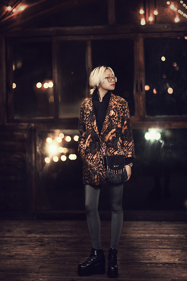 Abbie DaVinci - Leopard Glasses, Black Cotton Scarf, Animal Print Blazer, River Island Fringe Mini Bag, Marc By Jacobs Golden Watch, Victoria's Secret Silver Leggings, Asos Black Wedges - GENTLEMAN