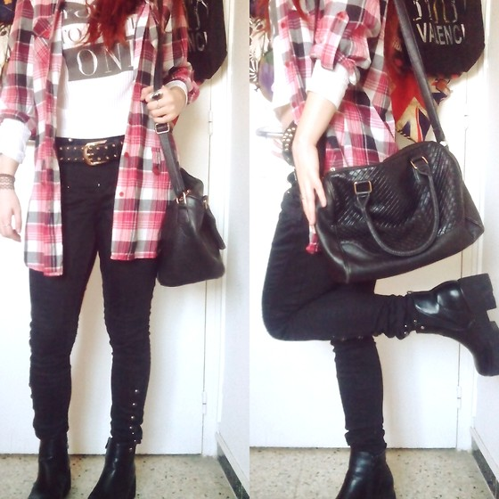 Luc S. - Dunnes Stores Plaid Button Down, Lefties Long Sleeved Top, Primark Handbag, Yeves Martín Chunky Boots - Plaid & studded.
