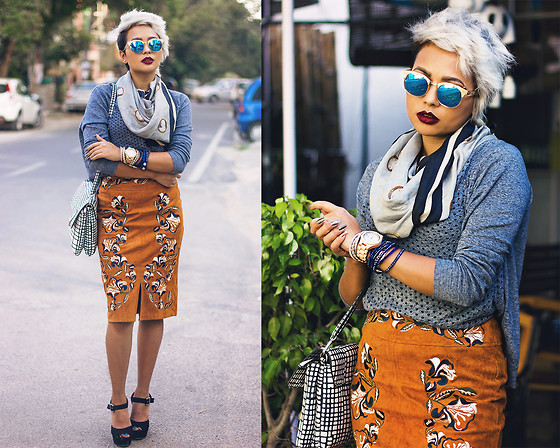 Nilu Yuleena Thapa - Chicwish Suede Embroidered Skirt, Gap Sweater, Giant Vintage Sunglasses, Steve Madden Jilly Sandals - Hot & Cold