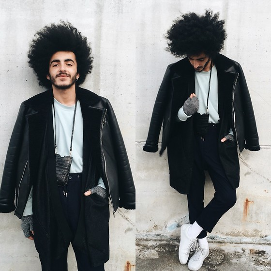 Marco Moura - H&M Sweater, H&M Pants, Zara Sneakers, Asos Kimono, Zara Leather Coat, Aldo Bag, Adidas Socks, H&M Gloves - Baby blue