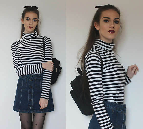 Lois H - Topshop Velvet Scrunchie, Topshop Denim Skirt, Asos Heart Tights, H&M Striped Turtleneck, Tocati Black Backpack, Sno Of Sweden Heart Necklace - Hearts and Bows