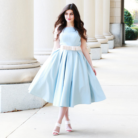 Carly Maddox - Chi Clothing Blue Dress - Pale Blue with a Bow