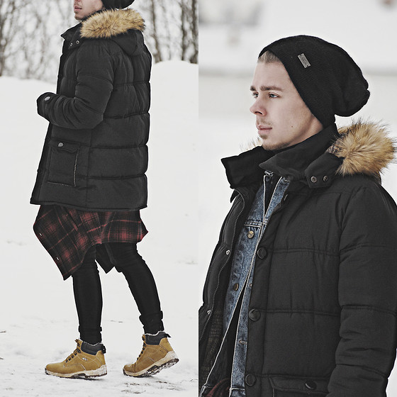 Edgar - Black Parka, H&M Black Denim Skinny Jeans, Ccc Winter Boots, Denim Jacket, Black Beanie, H&M Flannel Shirt - OUT OF THIS WORLD // See More In Description