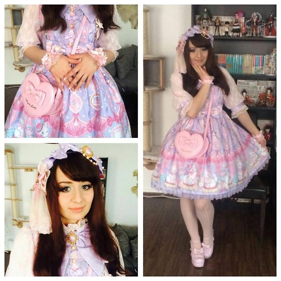 Dorothea Untan Dihel - Angelic Pretty Op, Angelic Pretty Bag, Bodyline Shoes, Sweet Sakura Headpiece, Peacockalorum Wristcuffs, Aliexpress Stockings - Sweet Lolita
