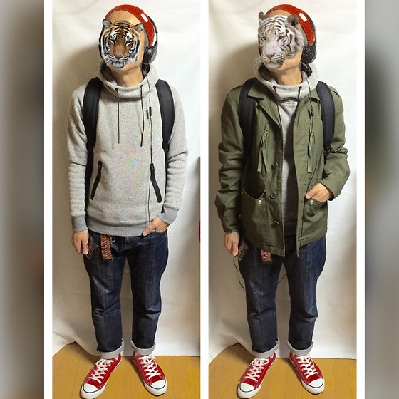 Keysyu Takagi - Global Work Cap, Global Work Military Jacket, Global Work Parka, Rage Blue Denim, Converse Shoes - Tomorrow outfit