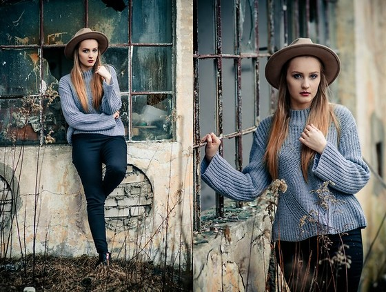 Agnieszka Warcaba - Reserved Hat, Reserved Sweater, H&M Jeans, H&M Boots - Grey sweater