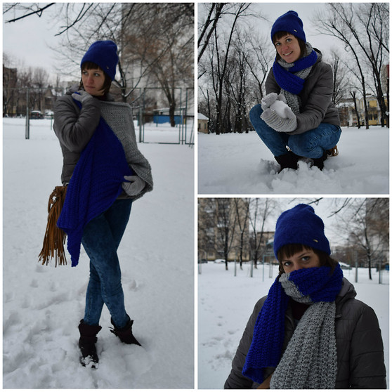 H.anna - Topshop Skinny Jeans, Tally Weijl Shoes, Terranova Grey Jacket, Mohito Cobalt Blue Beanie, My Handmade Scarf - When I made a scarf