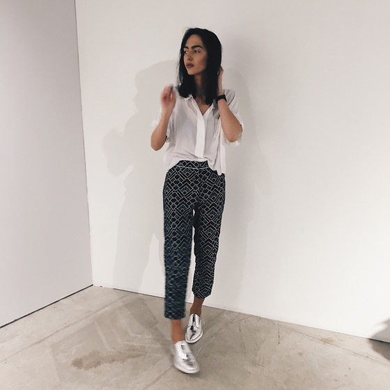 Agnija Grigule - Miista Silver Brogues, Motel Trousers, Third Form Shirt - SILVER