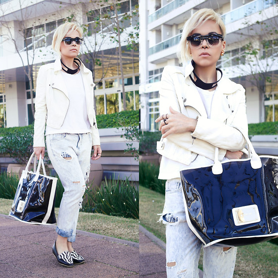 Priscila Diniz - Jacket, Jeans, Bag Similar - Black & white is always a classic but dont' need to be basic