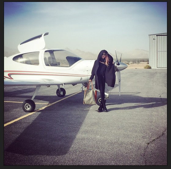 Emmalynn V - Jeffrey Campbell Shoes Combat Boots, Bat Norton Cloak Cardigan, Pink Victorias Secret Top - Beatty Airport
