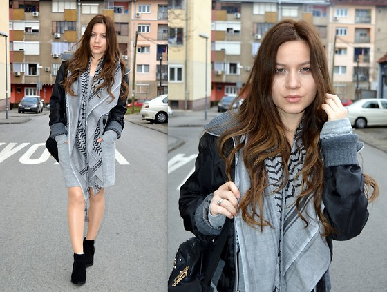 Marija M. - Happening Bomber Jacket, Calliope Black And Grey Scarf, Bershka Suede Ankle Boots - Bomber jacket
