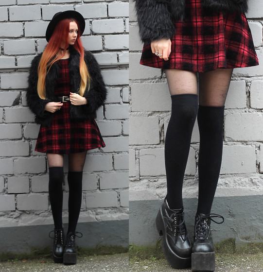 Liza LaBoheme - H&M Plaid Dress, Faux Fur Jacket, Demonia Platforms - On the run from the things that we miss